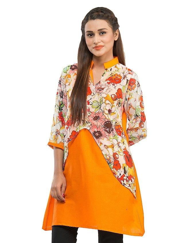 Orange Cotton Printed Short Kurta with Pearl Buttons for Women - 14184