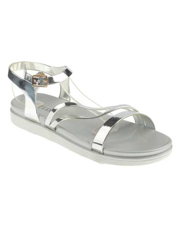 Silver Strappy Flat Sole Sandals for Women - MT28