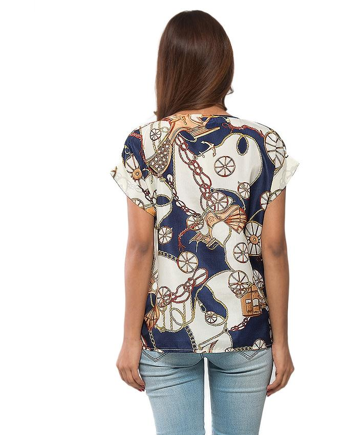 Multi Color Chiffon Diamond Printed T-Shirt for Women - UBB065