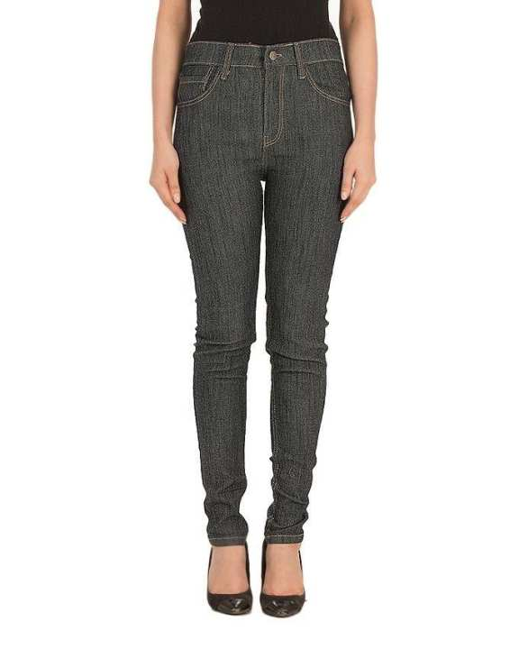 Plain Grey High-waisted Stretch Mom Jeans for Women
