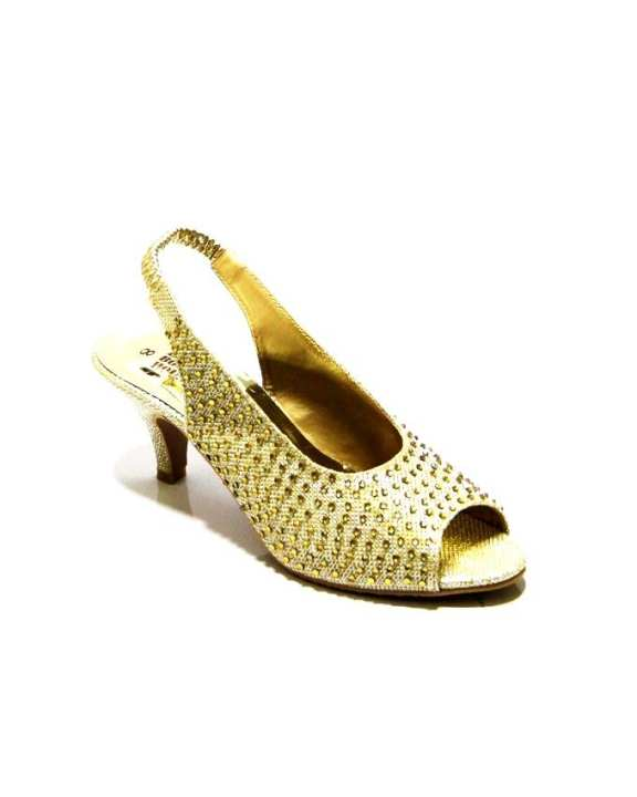 Golden Leather Heels for Women - 0510-2858 - US Size