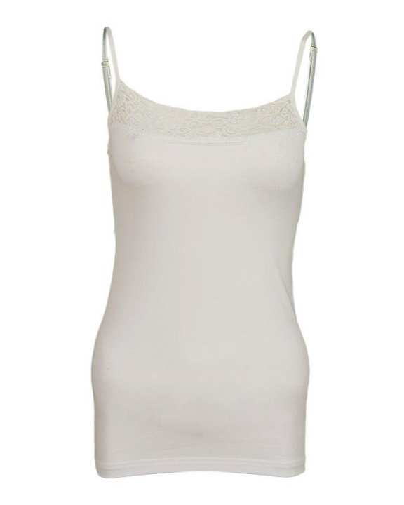 Camisole Collection Off-White Cotton Basic Camisole for Women