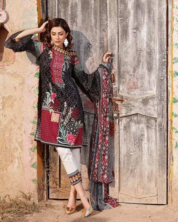 Gul Ahmed - Black Chiffon with Digital Printed Shirt 3PC-Unstitched -  C-513-158454