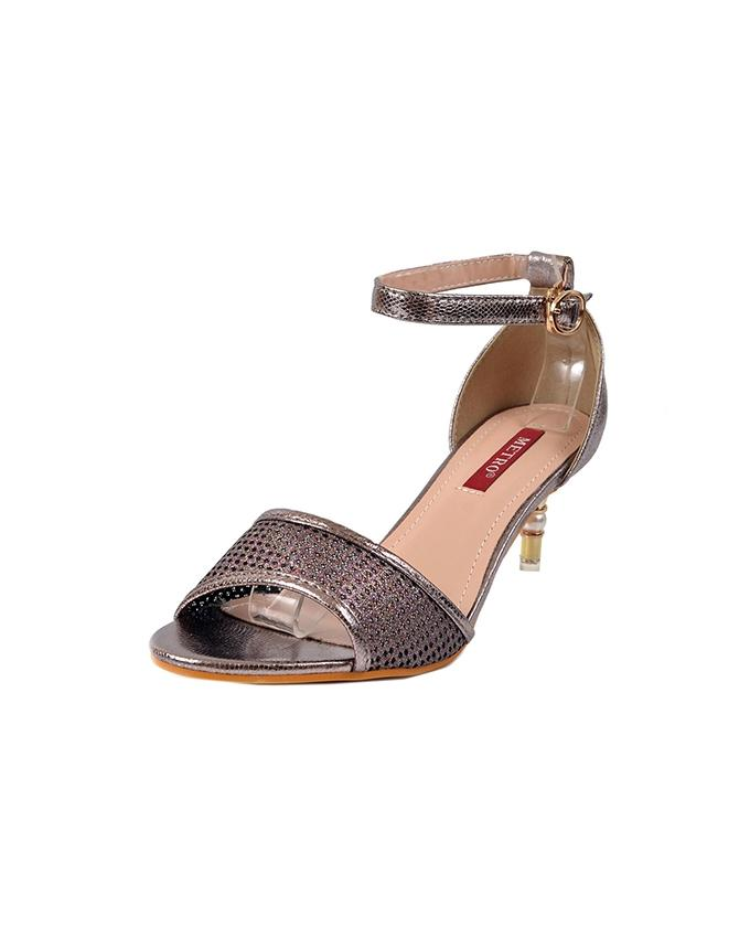 Gray Synthetic Heels With Ankle Straps For Women