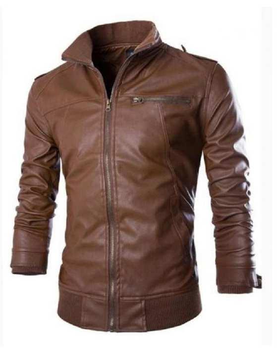 Black Men Slim Fit Pu Leather Jacket - D-BROWN-B666