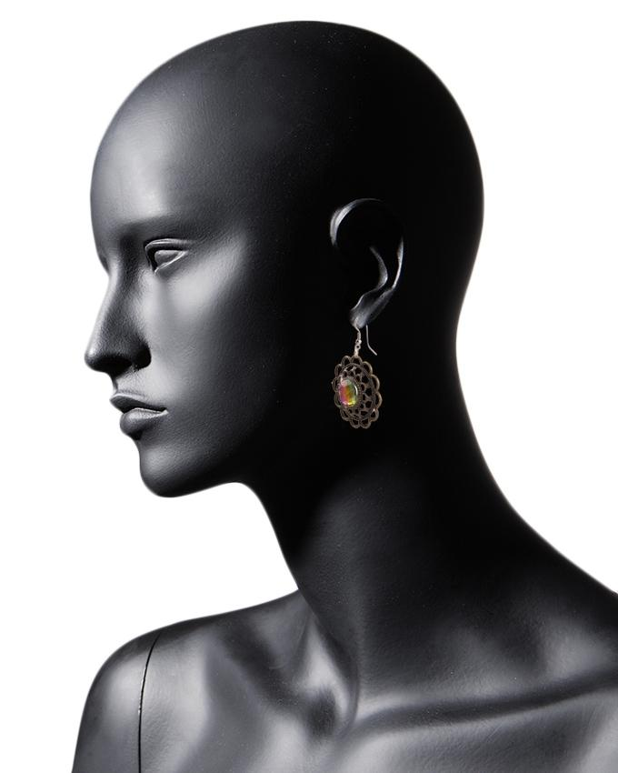 Brown Metal Multi Shades Earrings for Women - RIZ-ER-18