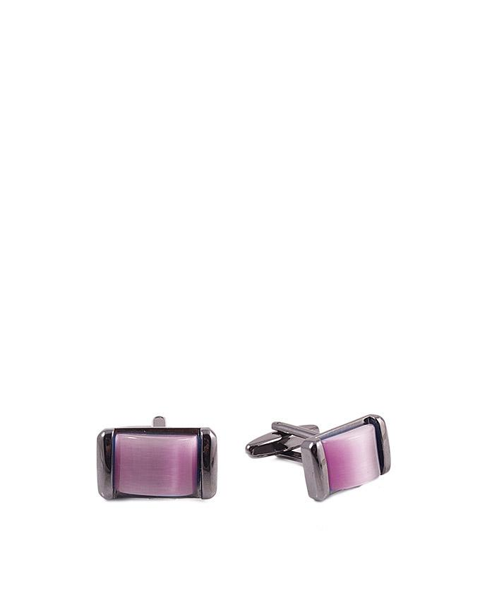 Pink Stone Studded Dull Silver Cufflinks for Men - GEP-40