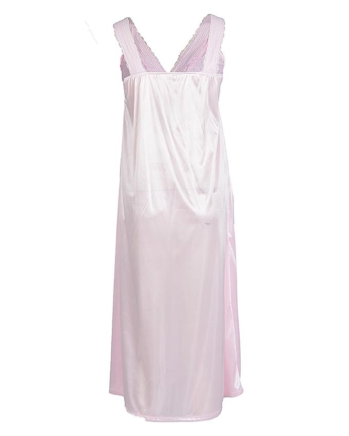 Pink Polyester Long Nightgown for Women - 1802P