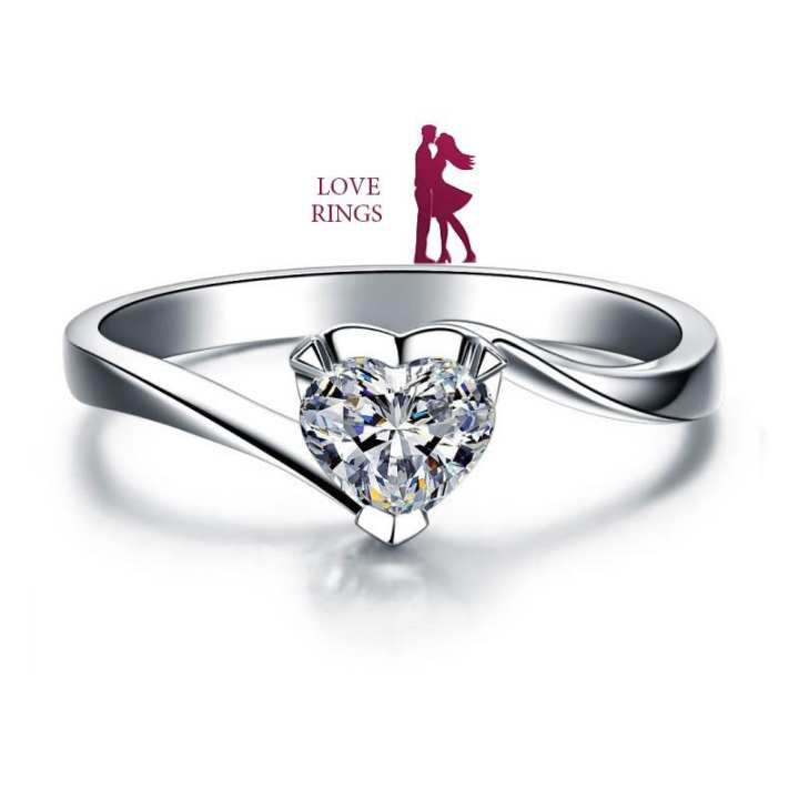Silver Plated Zircon Heart Shaped Ring for Women
