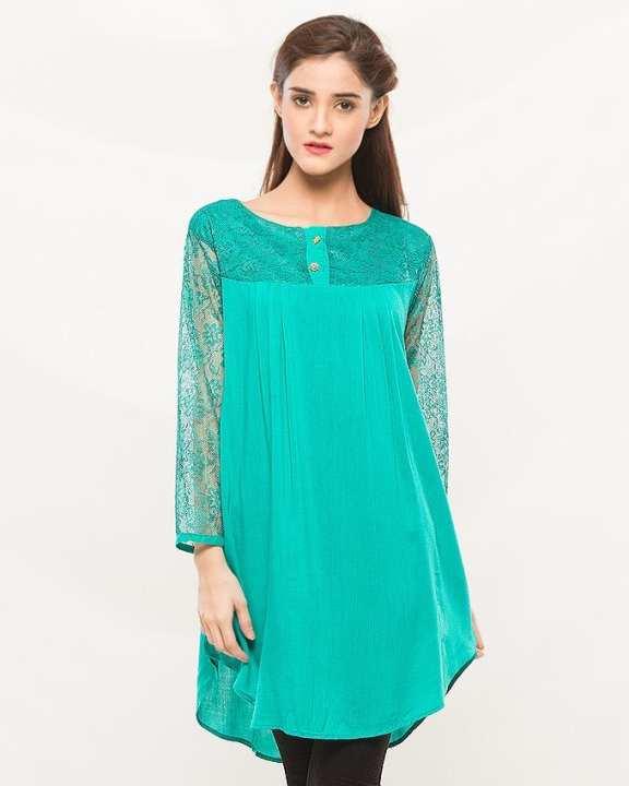 Sky Blue Cotton Kurti for Women