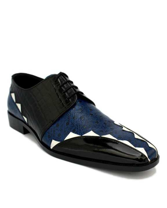 C-101360-Black Crocodile & Ostrich Leather Shoe