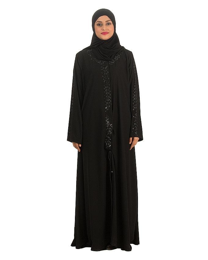 Black Stone Wool Fabric Abaya For Women - 0121-C-875