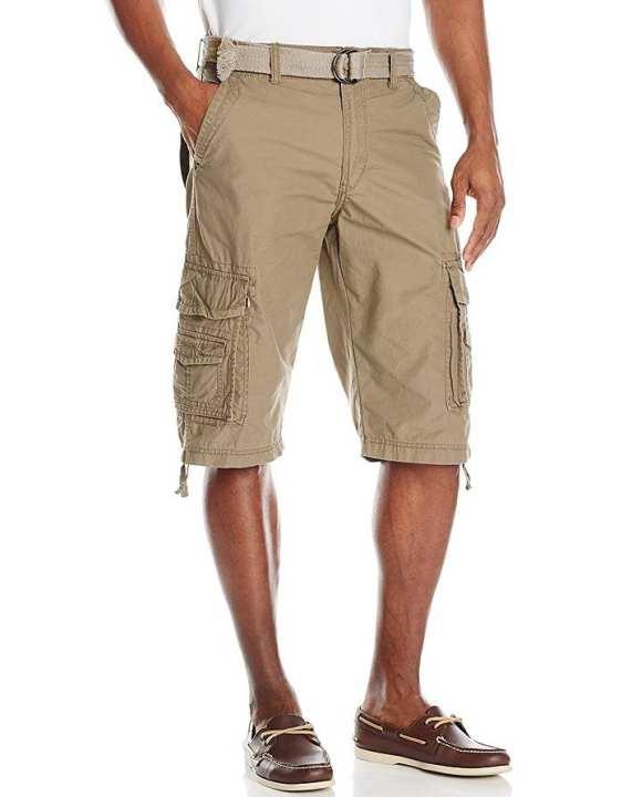 Men Cargo Denim Biker Jeans Shorts With Zippers