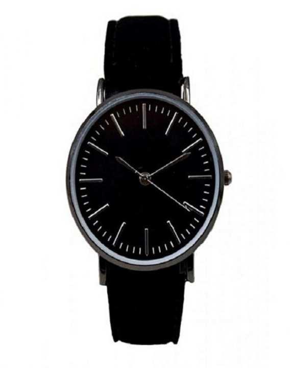 Black Leather Strap Watch - Unisex