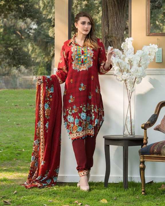 Red Printed 3Pcs- Unstitched  Lawn For Women