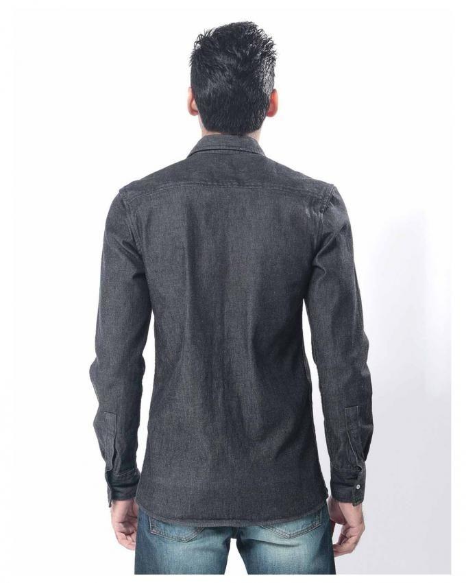 Black Denim Shirt for Men