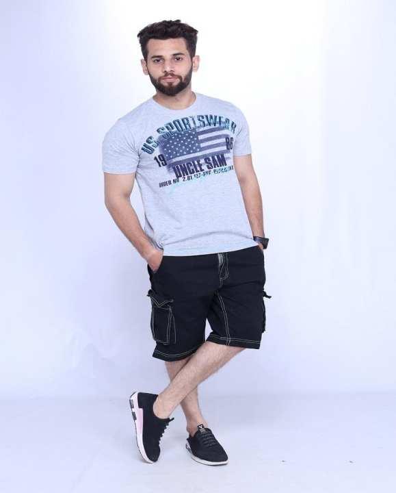 Men Cargo Shorts Black Color 6 Pocket