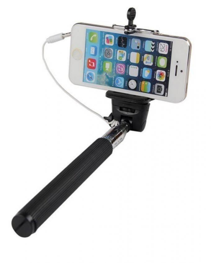 Selfie Stick with Extendable Audio Cable Wire - Black