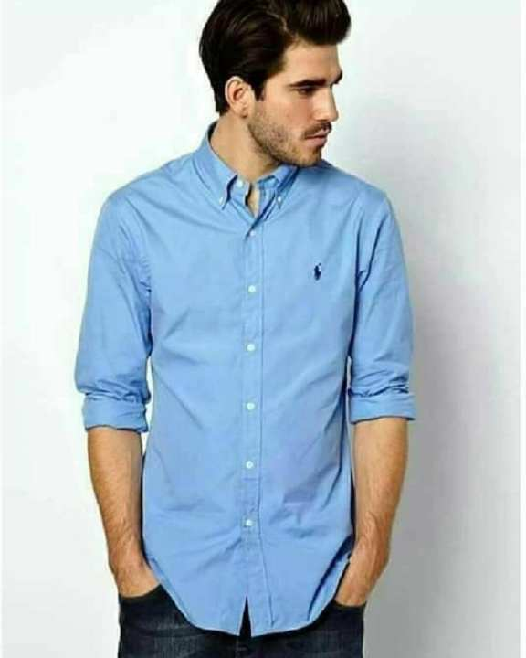 Sky Blue Plain Chambray Casual / Formal Shirt For Men