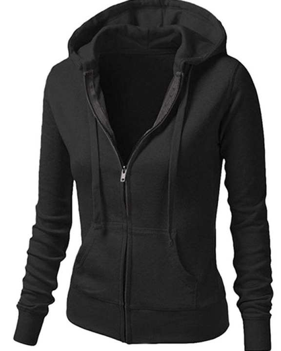 BRANDSTITCH - Black Plain Fleece Zipper Hoodie For Women