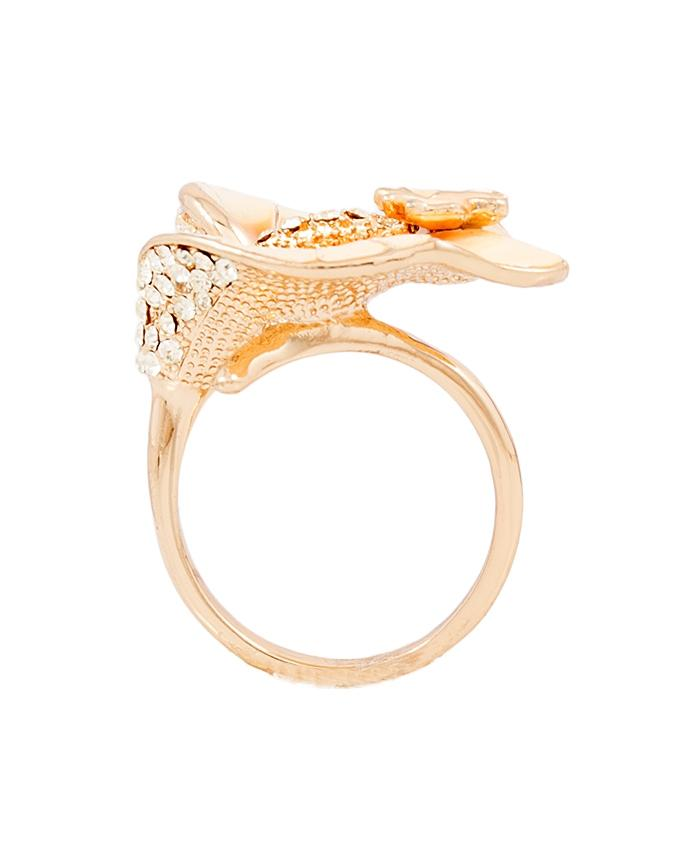 Lily Flower Butterfly Ring