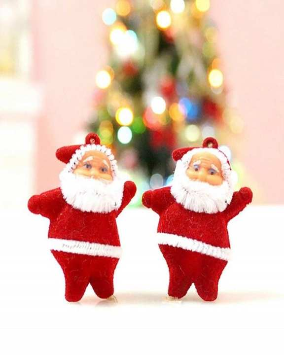 Perfect Decor Christmas Mini Santa Claus Pendant Hanging Ornament for Christmas Tree Decoration 6pcs