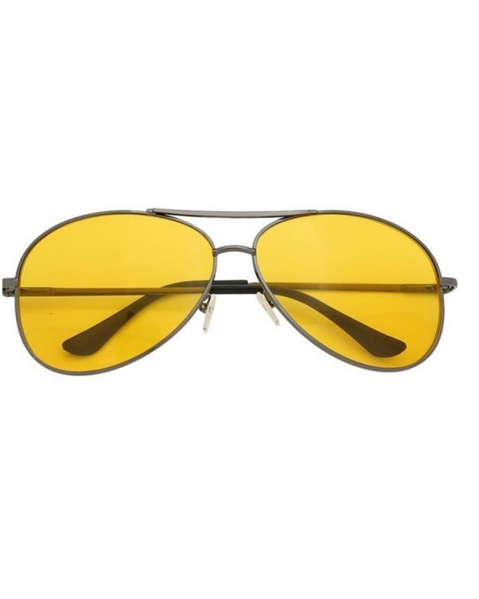 Night Vision Yellow Tint Driving Lens Aviator Style Glasses for Unisex