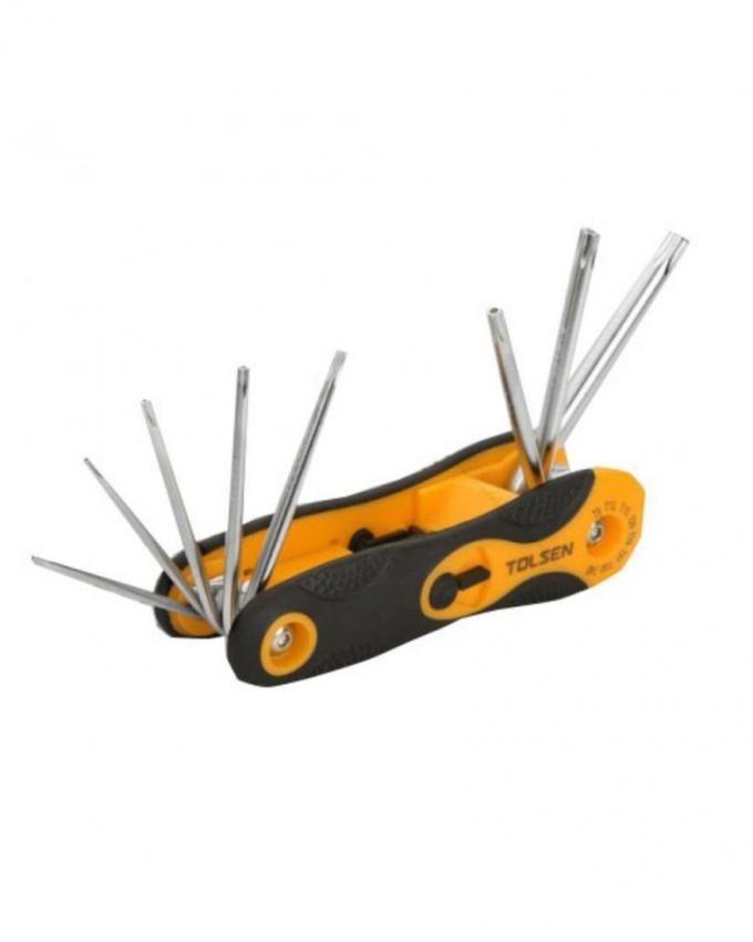Folding Torx Hex Key Set - 8pcs - Black & Orange