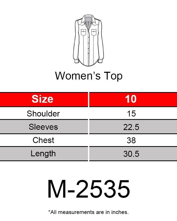 Blue & Red Chiffon Shirt for Women - M-2535