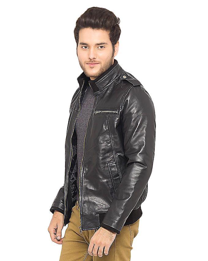 Black Leather Slim Fit Jacket for Men