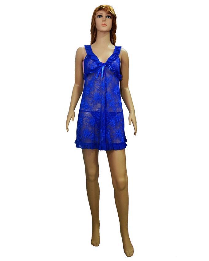 Blue Lace Net Short Nighty - 8768Bl