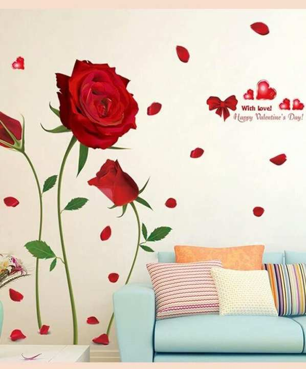 Red Rose Flower Quote 3D Wall Sticker