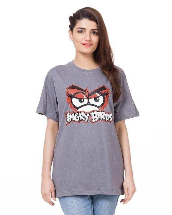 Grey Cotton Half Sleeves Round Neck Angry Bird Printed T-Shirt For Women