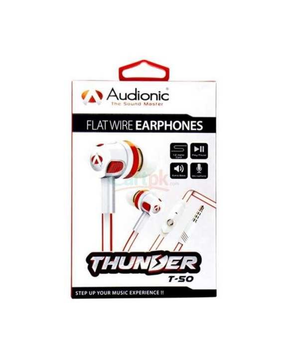 Audionic Thunder T-50 Earphones Flat Wire Stereo Earphones Dany Handsfree handfree
