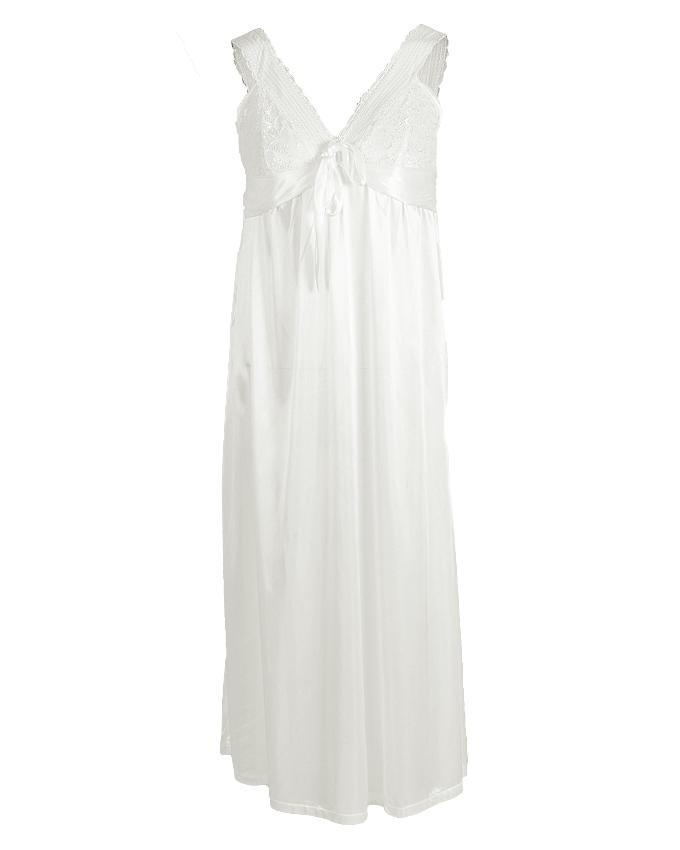 White Polyester Long Nightgown for Women - 1802W