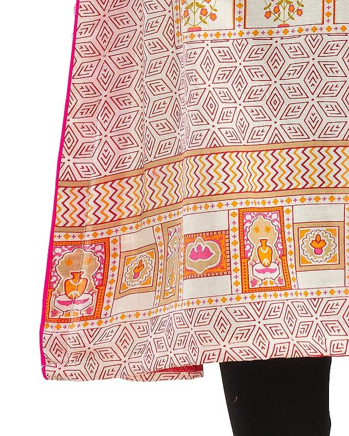 Cream Lawn Printed Kurta with Embroidery for Women - FA-51