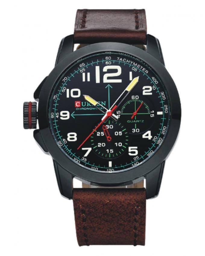 Brown & Black Leather Wrist Watch for Men - 8182
