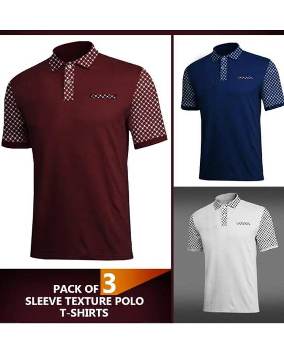 Pack of 3 Flower Texture Polo T-shirts