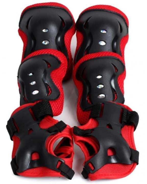 Pack of 2 - Skating & Bicycle Protective Safety Gear Pads For Kids - Red & Black