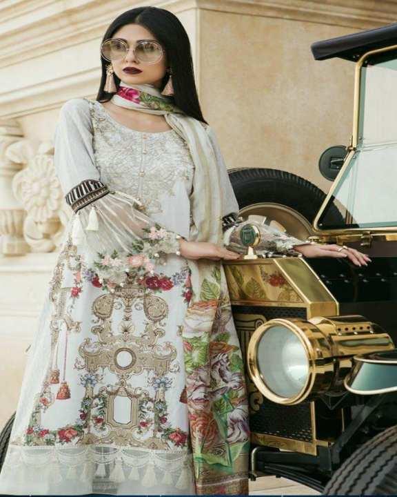 Cream White Floret Embroidery Lawn Unstitched Suit - 3Pcs