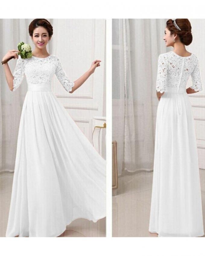 White Long Maxi Chiffon Dress