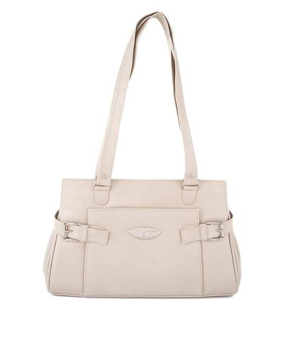 Off White Leather Hand Bag For Women