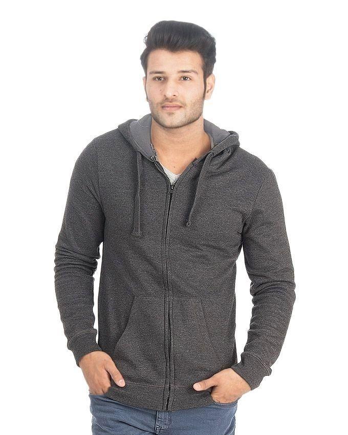 Charcoal Grey Fleece Zipper Hoodie