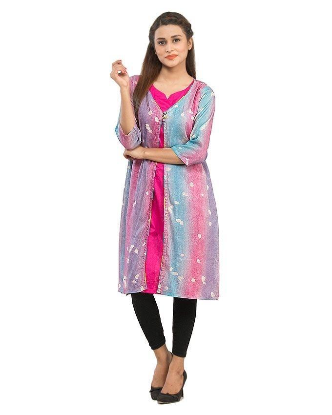 Pink Front Open Kurta with Printed Chiffon fabric for Women - 14288