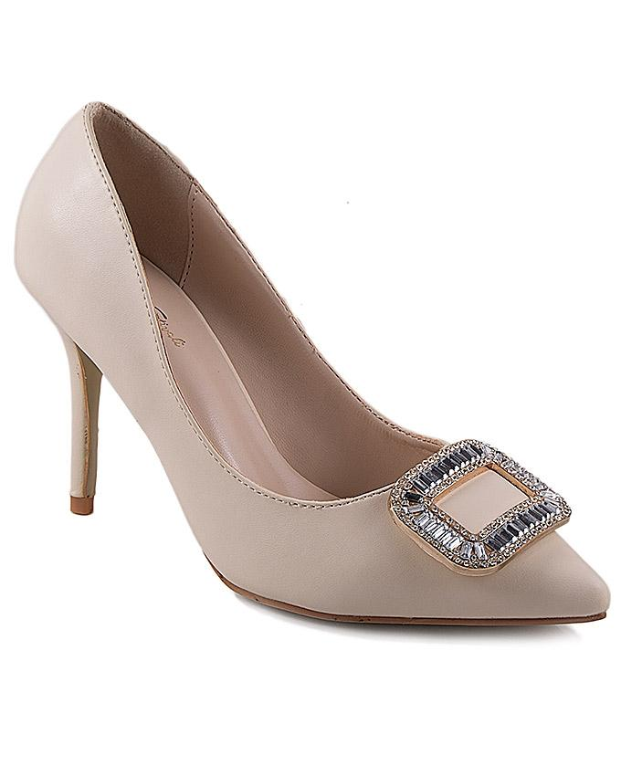 Beige Synthetic Leather Rsturner Stiletto Heels for Women