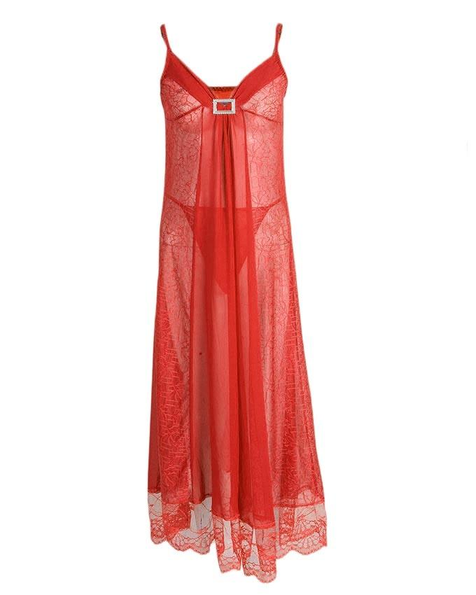 ab40345a73 Red Net Long Nightgown for Women - 9940R