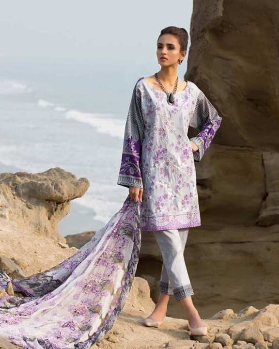 Gul Ahmed - Purple Chantilly with Embroidered Front Printed Back/Sleeves/borders 3PC-Unstitched -  CT-247-158462