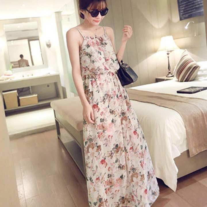 Floral Printed Women Sleeveless Long Dress Summer Casual Sexy Chiffon