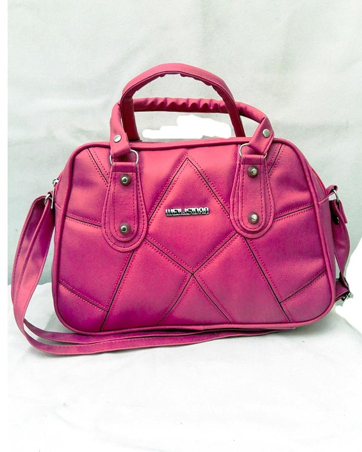 Pink And Black Hand With Long Steps Bag For Women