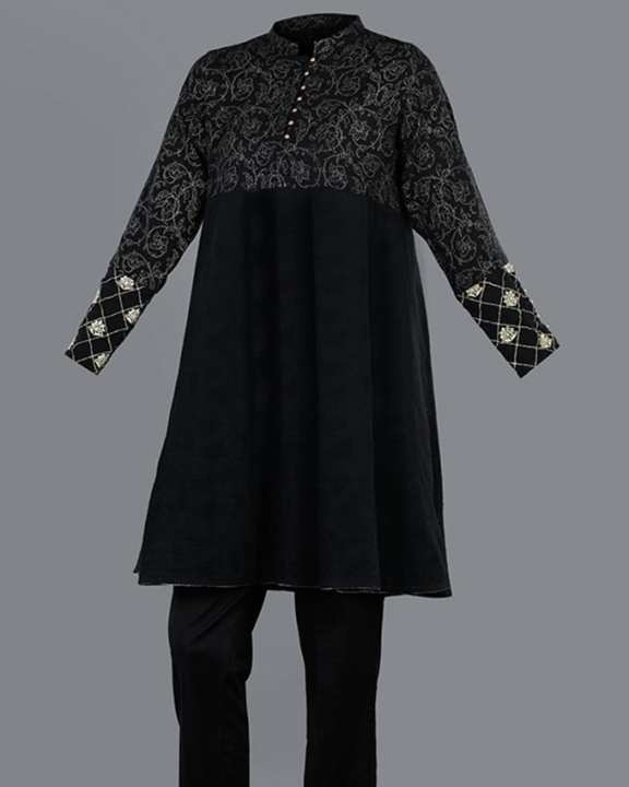 Tarzz - Midnight Fairy Black Semi Formal Solid Dyed Jacquard Kurti - 77042140121000